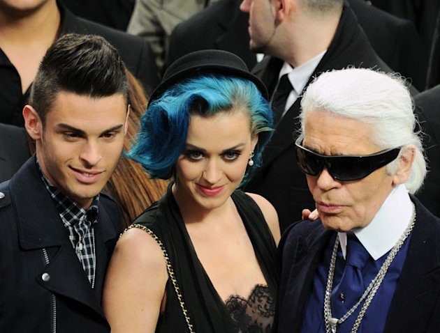 Baptiste Giabiconi, Katy Perry and Karl Lagerfeld Chanel show, Autumn Winter 2012, Paris