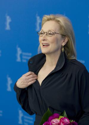 Actress Meryl Streep poses for the photo call of the film The Iron Lady at the 62 edition of the Berlinale, International Film Festival in Berlin, Tuesday, Feb. 14, 2012. Meryl Streep will be awarded with the Honorary Golden Bear for her lifetime achievement. (AP Photo/Gero Breloer)