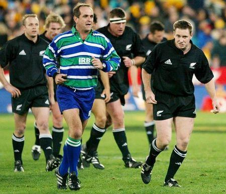 ALL BLACK'S MEHRTENS WALKS OFF FIELD WITH REFEREE ANDRE WATSON DURING TRI NATIONS RUGBY UNION ...
