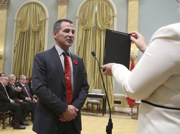 Canada's new Fisheries and Oceans, and Canadian Coastguard Minister Hunter Tootoo is sworn-in during a ceremony at Rideau Hall in Ottawa November 4, 2015. REUTERS/Chris Wattie