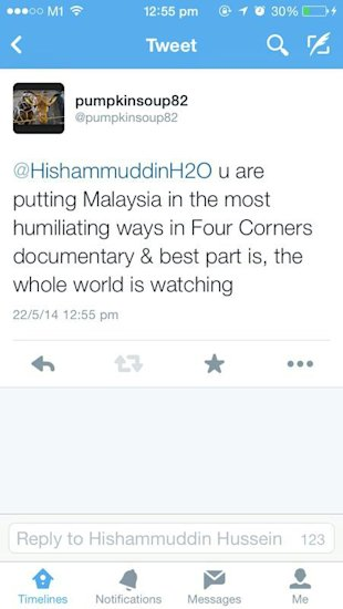 A Twitter posting by relative of an MH370 passenger, criticising Hishammuddin over his interview with Australia's Fourcorners programme.