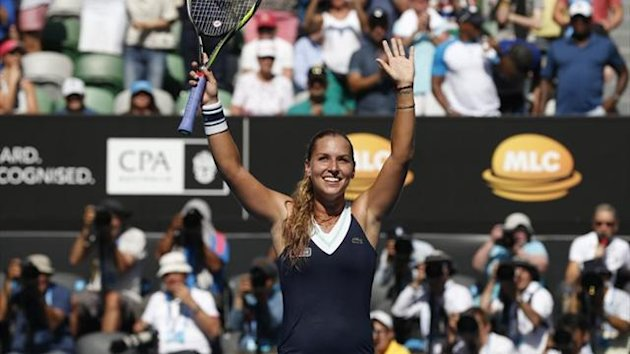 Dominika Cibulkova of Slovakia celebrates defeating Agnieszka Radwanska of Poland in the Australian Open semi-final (Reuters)