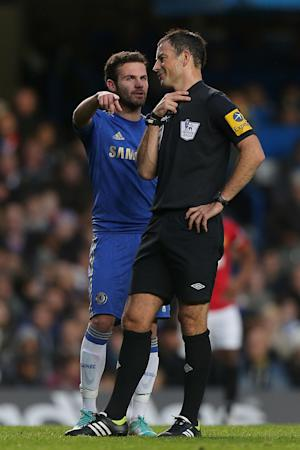 Mark Clattenburg has been accused of using 'inappropriate language' towards Juan Mata, pictured, and John Obi Mikel