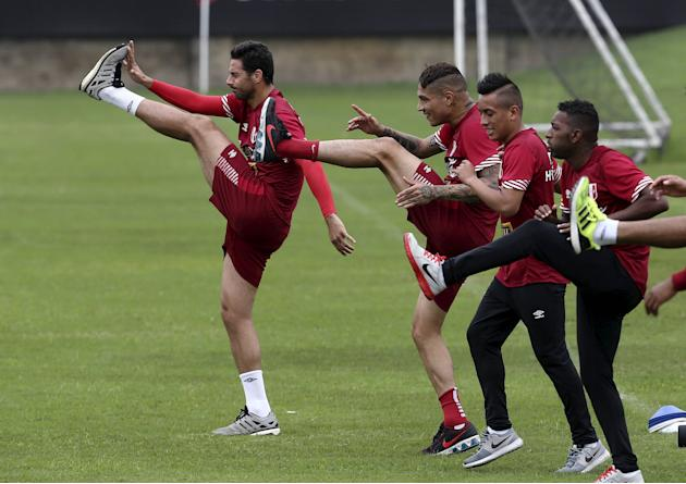Pizarro and Guerrero attend a soccer training session together with other team mates in Lima