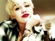 Miley Cyrus shows off her new pixie cut on August 14, 2012 -- Twitter