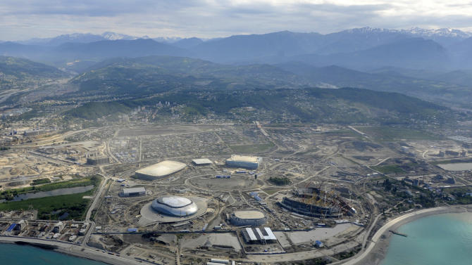 Picture taken from a helicopter on May 18, 2012, shows a general view of the construction area of the Olympic Park in the Black Sea resort of Sochi. Sochi will host the 2014 Winter Olympics which will start on February 7, 2014. AFP PHOTO/MIKHAIL MORDASOVMIKHAIL MORDASOV/AFP/GettyImages