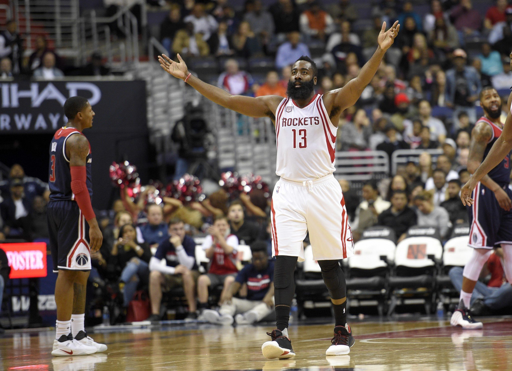 James Harden asks the assembled masses in D.C. if they're entertained. (AP)