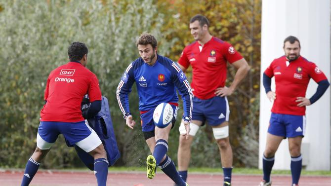 France national rugby team player Medard and team mates attend a training session at the Rugby Union National Centre in Marcoussis
