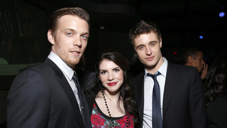 "Jake Abel, Author Stephenie Meyer and Max Irons attend the after party for the LA premiere of ""The Host"" at the ArcLight Hollywood on Tuesday, March 19, 2013 in Los Angeles. (Photo by Todd Williamson/Invision/AP)"