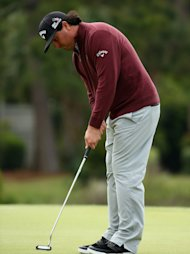 HILTON HEAD ISLAND, SC - APRIL 20: Pat Perez putts on the 17th green during the final round of the RBC Heritage at Harbour Town Golf Links on April 20, 2014 in Hilton Head Island, South Carolina. (Photo by Streeter Lecka/Getty Images)