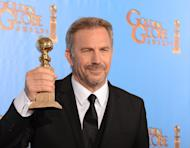 "Kevin Costner poses in the press room with his Best performance by an actor in a mini-series or motion picture made for television award for ""Hatfields & McCoys"" at the Golden Globe awards ceremony in Beverly Hills on January 13, 2013"