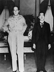 Japanese Emperor Showa (R) and US General Douglas MacArthur (L) at the US Embassy in Tokyo on September 27, 1945. MacArthur oversaw the transformation of a country that waged a brutal war of acquisition across Asia into a peaceable nation that would become the economic powerhouse of the late 20th century