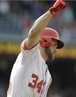 Bryce Harper celebrates his two-run, game-winning homer Thursday. (AP Photo)