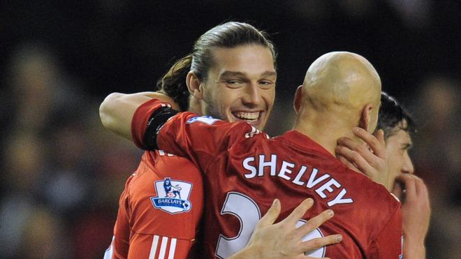 Liverpool's English Forward Andy Carroll (L) Celebrates With His Teammate English Midfielder Jonjo Shelvey (R)   AFP/Getty Images