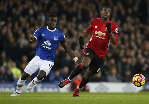 Everton's Idrissa Gueye in action with Manchester United's Paul Pogba
