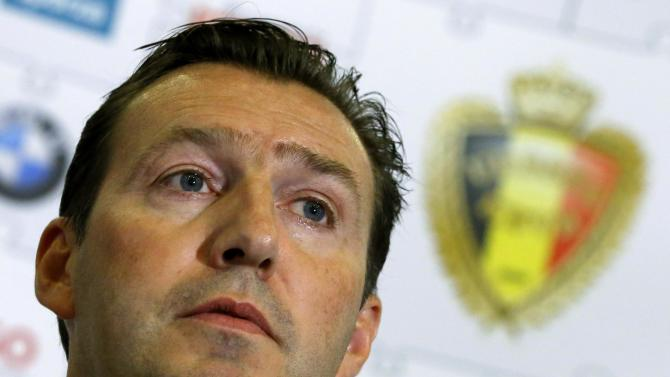 Belgium's coach Marc Wilmots speaks during a news conference at the Royal Belgian Football Association in Brussels