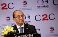 Myanmar President Thein Sein speaks during the US-ASEAN business forum and dinner in Siem Reap, Cambodia on July 13. Thein Sein is striving to put his flagging reform agenda back on track by promoting loyal allies in the first major cabinet reshuffle of the post-junta era, analysts say