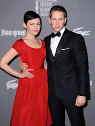 "FILE - This Feb. 19, 2013 file photo shows Ginnifer Goodwin, left, and Josh Dallas at the 15th Annual Costume Designers Guild Awards in Beverly Hills. The actors, who play Snow White and Prince Charming on ABC's ""Once Upon a Time,"" are expecting their first child together. Goodwin's representative confirmed the news, first reported by People magazine, on Wednesday, Nov. 20. No other details were available. The couple became engaged last month. (Photo by Jordan Strauss/Invision/AP, File)"
