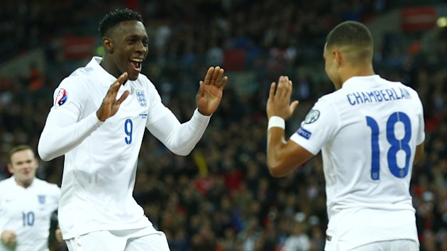 England's Danny Welbeck celebrates a goal with Alex Oxlade-Chamberlain (Reuters)