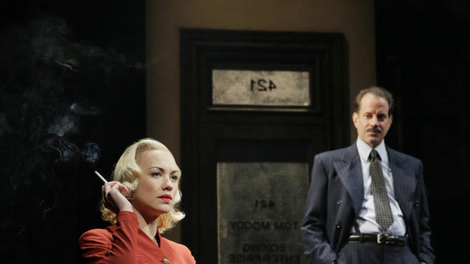 "This theater image released by Lincoln Center Theater shows Yvonne Strahovski, left, and Danny Mastrogiorgio in ""Golden Boy."" (AP Photo/Lincoln Center Theater, Paul Kolnik)"