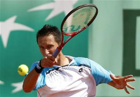 Stakhovsky of Ukraine returns the ball to Ferrer of Spain during the French Open tennis tournament at the Roland Garros stadium in Paris