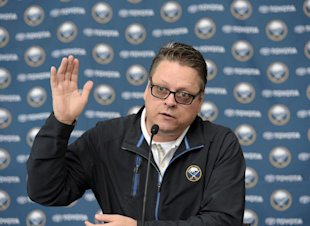 Buffalo Sabres GM Tim Murray talks about NHL free agency during a press conference announcing the signing of Jack Eichel to a three-year, entry level contract with the team at the First Niagara Center Wednesday July 1, 2015, in Buffalo, N.Y. (AP Photo/Gary Wiepert)