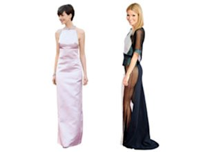 From left: Anne Hathaway's pointy Prada, in February; Gwyneth Paltrow's big reveal, in April.