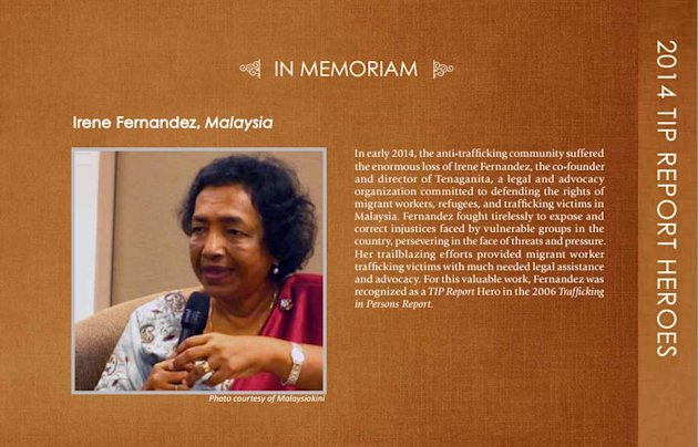 The page dedicated to Irene Fernandez, a Malaysian activist who was devoted to the plight of the immigrants and victims of human trafficking. - Pic courtesy of US State Department website, June 20, 2014.