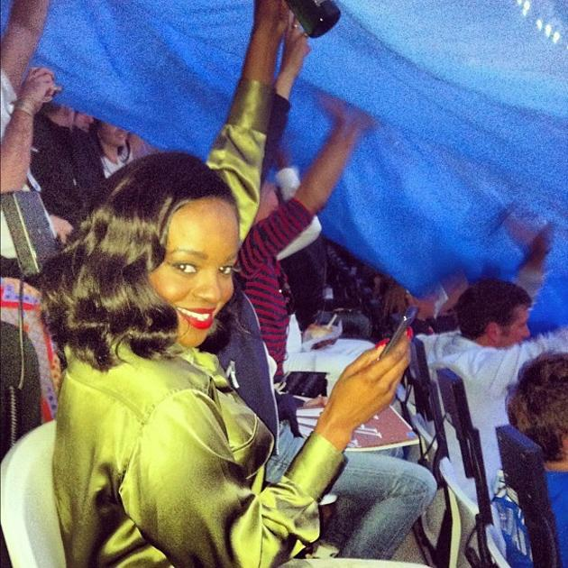 Celebrity photos: The newly reunited original Sugababes – now called Mutya Keisha Siobhan – also made an appearance at the Olympics Opening Ceremony. Here's Keisha getting excited during the build up