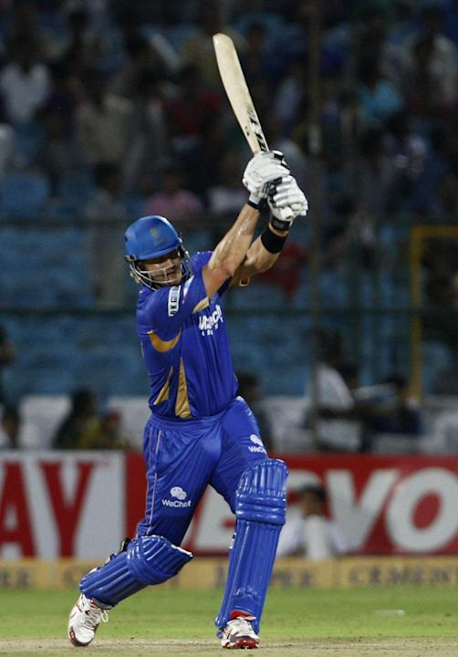 Rajasthan Royals batsman Shane Watson in action during the match between Rajasthan Royals and Lions at Sawai Mansingh Stadium, Jaipur on Sept. 25, 2013. (Photo: IANS)