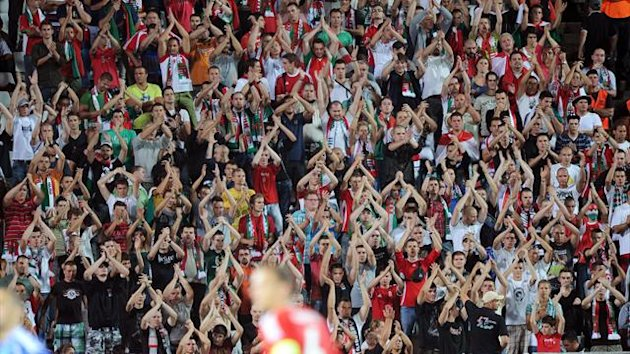 Hungarian fans chanting anti-semetic slogans against Israel (AFP)