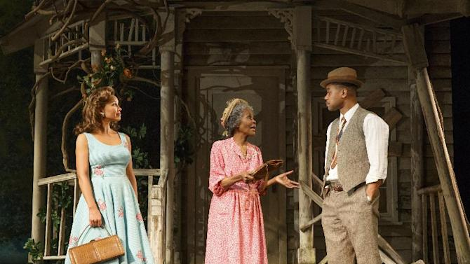 """This theater publicity image released by The Hartman Group shows Vanessa Williams, left, Cicely Tyson, center, and Cuba Gooding Jr., during a performance of """"The Trip to Bountiful"""" at the Stephen Sondheim Theatre in New York. (AP Photo/The Hartman Group, Joan Marcus)"""