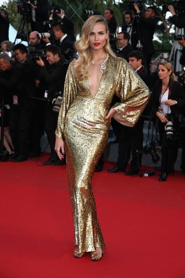 "Natasha Poly in custom Michael Kors at ""The Sea of Trees"" premiere during the 68th annual Cannes Film Festival."
