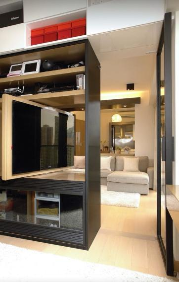 10 cool ways to hang that flat screen you finally saved up for. Black Bedroom Furniture Sets. Home Design Ideas