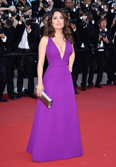 "Salma Hayek in Gucci the ""Rocco And His Brothers"" premiere during the 68th annual Cannes Film Festival."