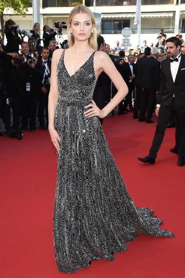 "Lily Donaldson in Saint Laurent at the ""Inside Out"" premiere during the 68th annual Cannes Film Festival."