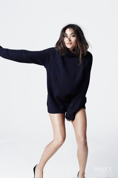 Shay Mitchell in a Vince cable knit turtleneck sweater.