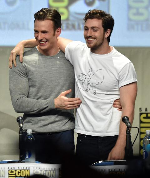 Chris Evans and Aaron Taylor-Johnson
