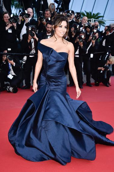 "Eva Longoria in Versace at the ""Carol"" premiere during the 68th annual Cannes Film Festival."