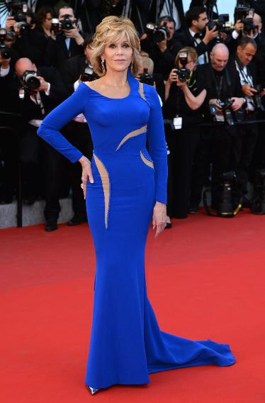 "Jane Fonda in Versace at ""The Sea of Trees"" premiere during the 68th annual Cannes Film Festival."