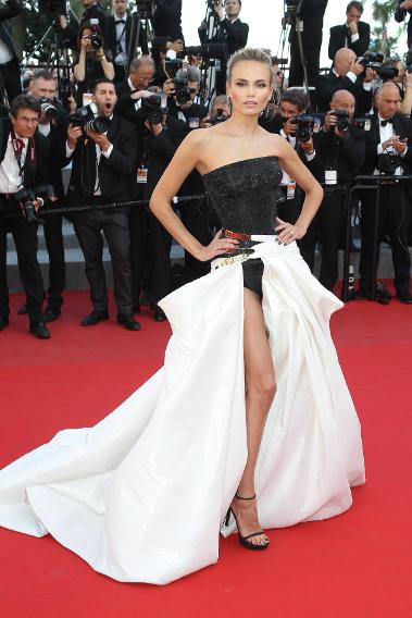 "Natasha Poly in Atelier Versace at the ""Carol"" premiere during the 68th annual Cannes Film Festival."