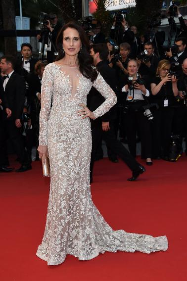 "Andie MacDowell in Ralph & Russo at ""The Sea of Trees"" premiere during the 68th annual Cannes Film Festival."