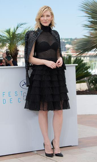 "Cate Blanchett in Alexander McQueen at the ""Carol"" photocall during the 68th annual Cannes Film Festival."