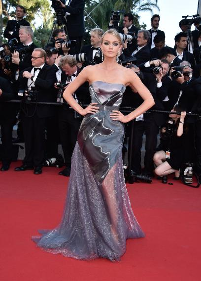 "Lindsay Ellingson in Ulyana Sergeenko at the ""Carol"" premiere during the 68th annual Cannes Film Festival."