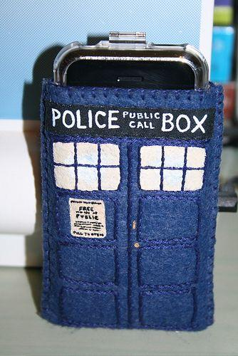 Felt Tech Case: Dr. Who Tardis Phone Cover