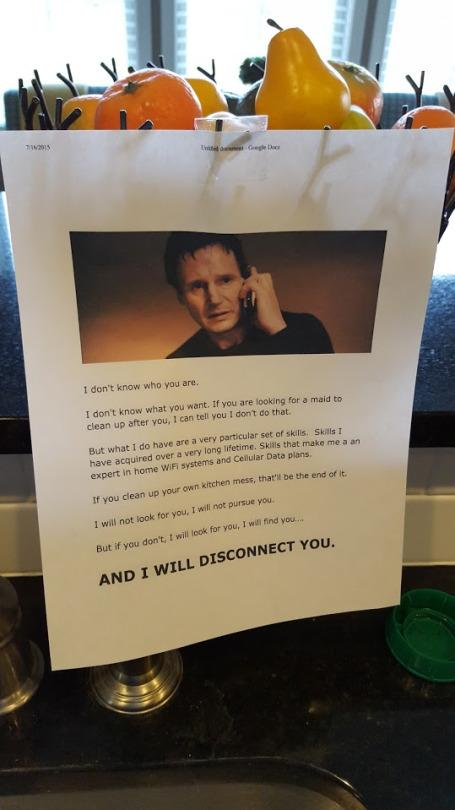 Dad Has Liam Neeson-Inspired Threat for Messy Teens