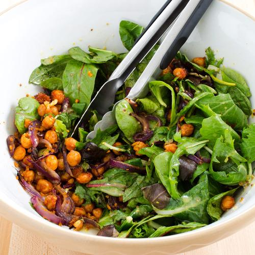 recipe salad with crispy spiced chickpeas and honey mustard ...