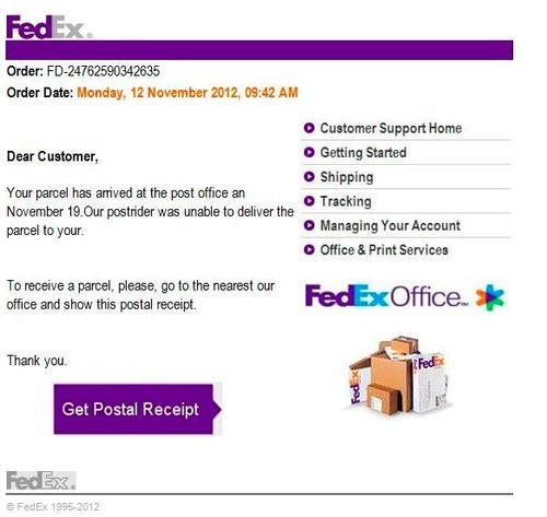 Notification of undelivered package apparently from FedEx