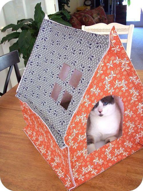 homemade cat fabric tent