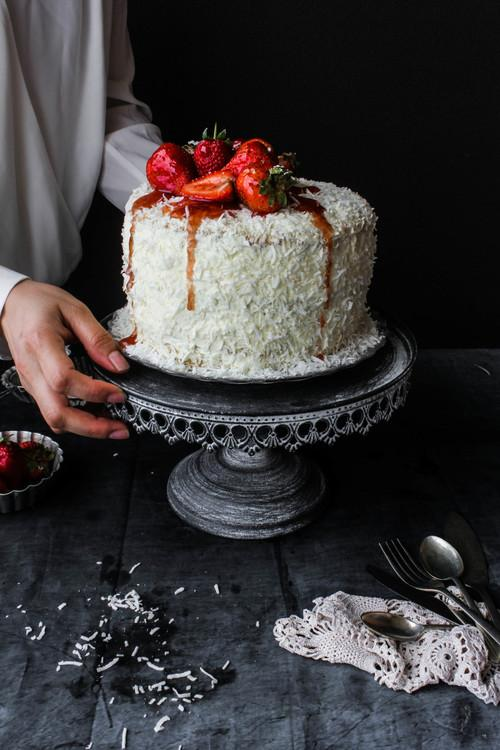 Cake of the Day: Lemon, Coconut, and Strawberry Cake